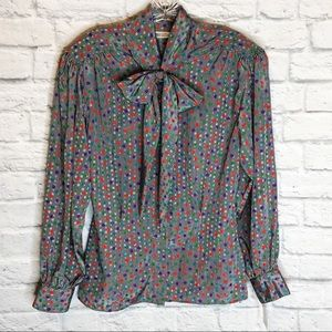 VINTAGE 80's Evan Picone Pussybow Blouse